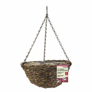 14″ Tawney Faux Rattan Hanging Basket