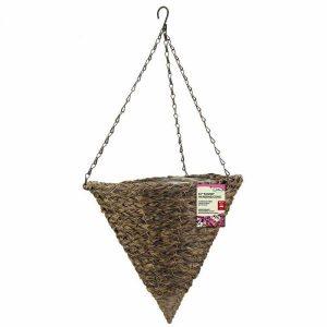 14″ Tawney Faux Rattan Hanging Cone