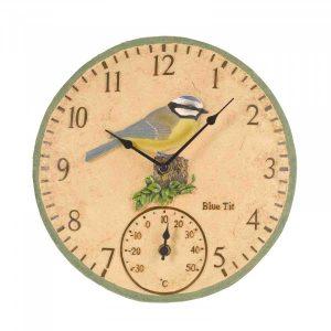 BlueTit Wall Clock & Thermometer